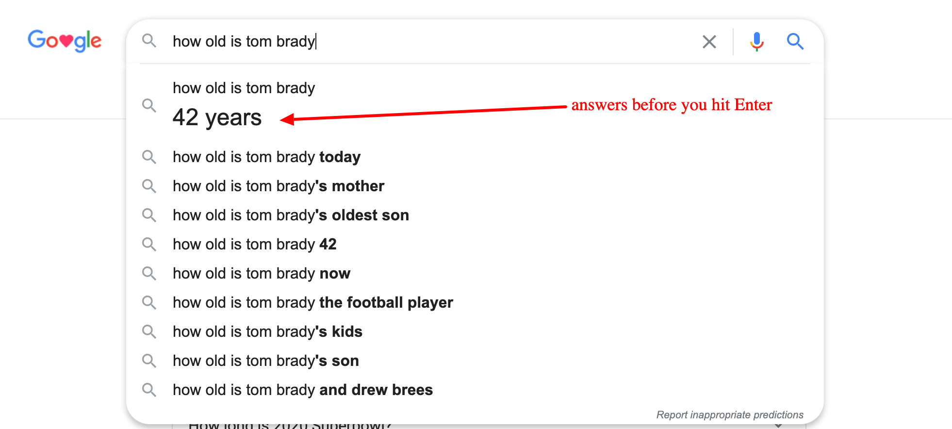 web design - How Old Is Tom Brady No Click Google Answers