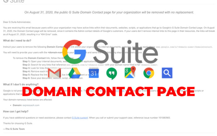 G Suite Domain Contact Page